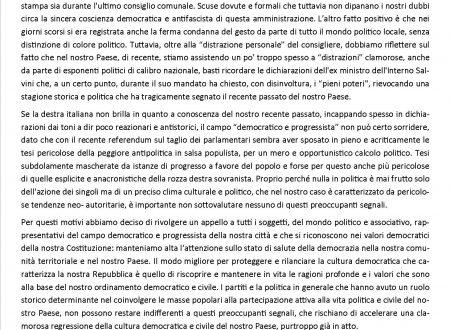 Appello alle forze democratiche e progressiste della città di Frosinone
